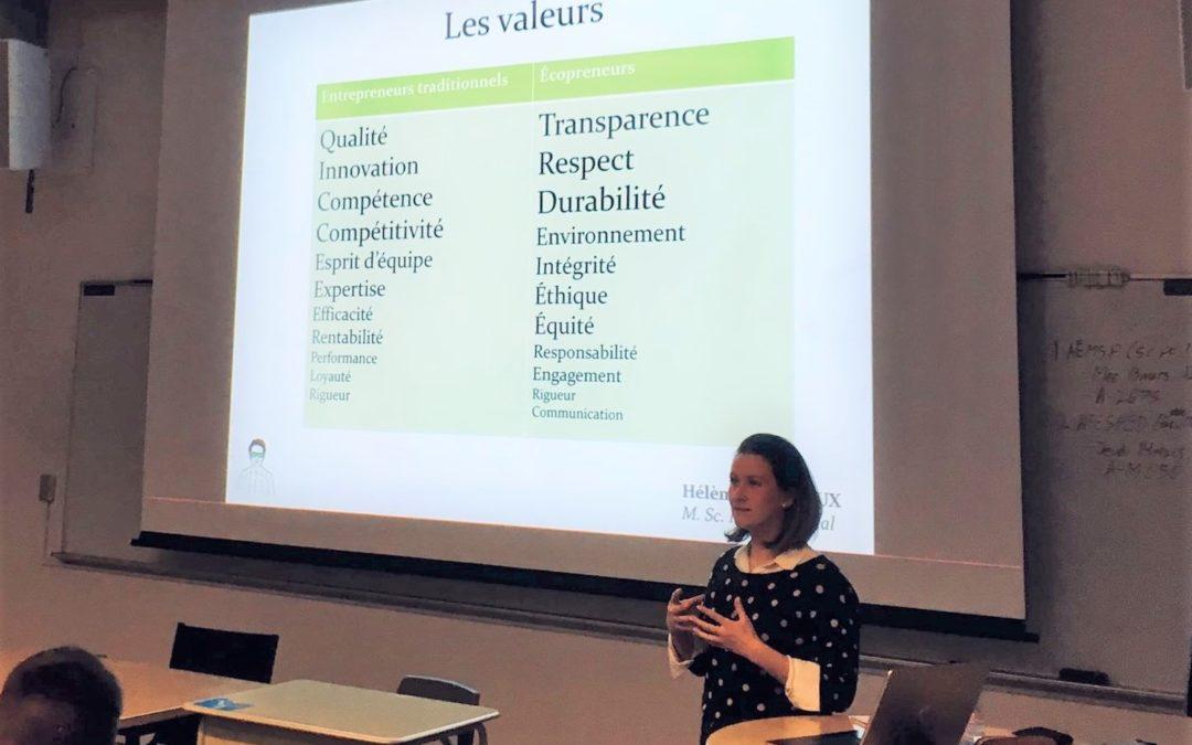 Deux Hélène et un cours de Développement Durable à l'ESG UQAM : Une intervention sur le développement durable et ses modèles d'affaires